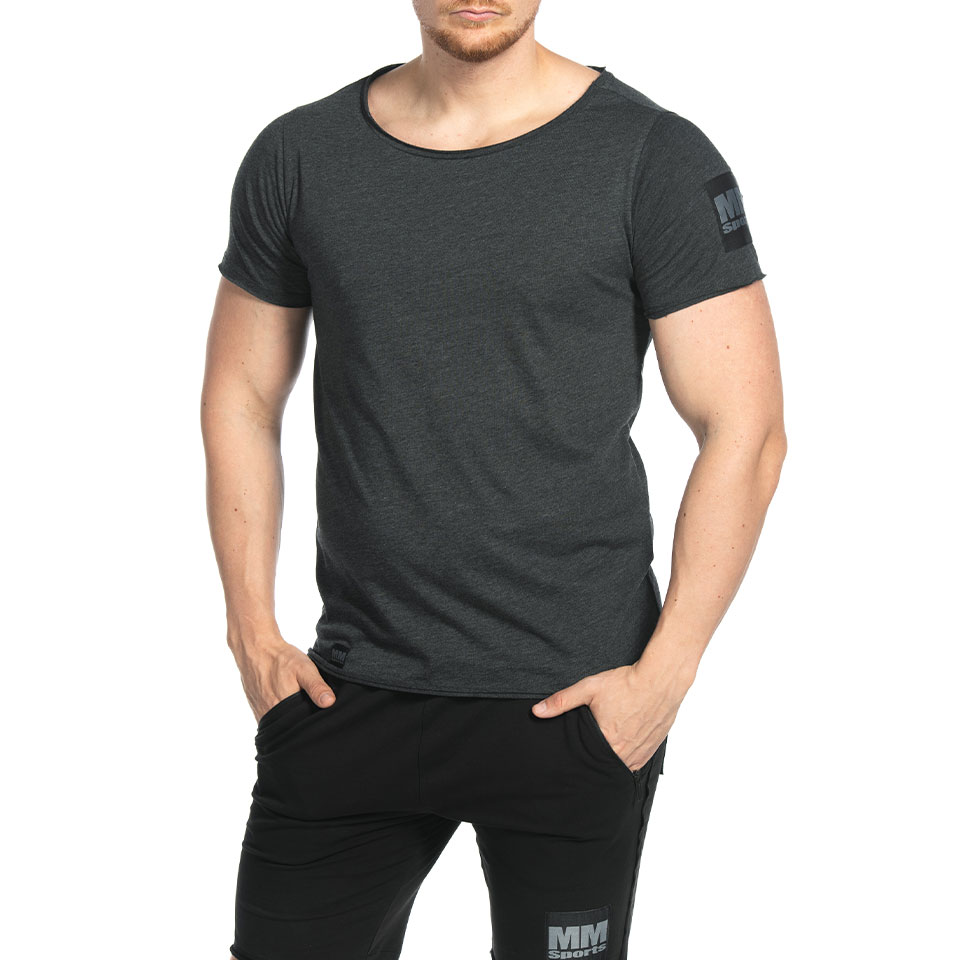 Abel Wide Neck Light Tee, Washed Black